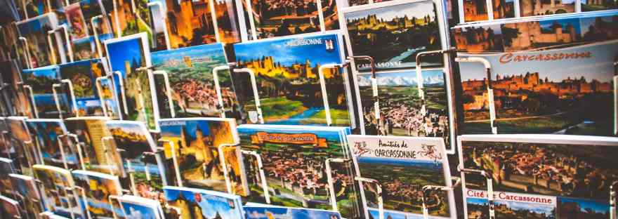A postcard display - the joy of postcards